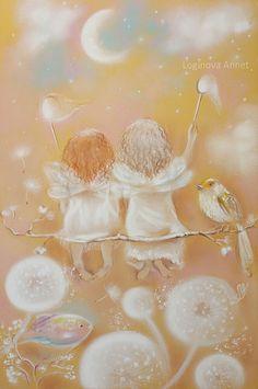 Dandelion Art, Vintage Fairies, Pastel Art, Fairy Art, Sacred Art, Cute Art, Watercolor Art, Dragons, Fantasy Art