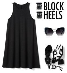 """""""Step Up: Block Heels"""" by yours-styling-best-friend ❤ liked on Polyvore featuring Boohoo, In Your Dreams and Gap"""