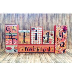 """Gobble til ya Wobble"" wooden block set for Thanksgiving, Fall or Autumn decor (17.5 x 8 x 1.5"")  $25. Visit my FB page www.facebook.com/kimswoodnwords or follow me on Instagram @woodnwords. #woodnwords #thanksgiving"