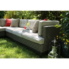 Shop AE Outdoor 4-Piece Aluminum Cushioned Patio Sectional Furniture Set at Lowes.com