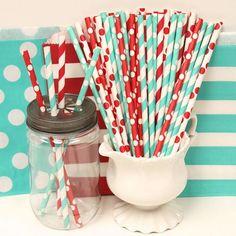 Paper Straws, 30 AQUA RED Party Straw Mix, Carnival, Birthday, Retro