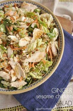 Ginger Sesame Chicken Salad • ingredients: chicken, shredded lettuce, ginger, sesame seeds, shredded carrot, spring onion • #salad #chicken #healthy