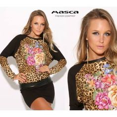 Masca Fashion virágos párducmintás betétes denevérujjú fekete miniruha Graphic Sweatshirt, Sweatshirts, Sweaters, Fashion, Moda, Fashion Styles, Trainers, Sweater, Sweatshirt