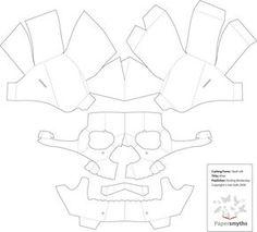 3D Paper Skull Template Más