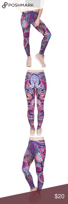"Purple Paisley Leggings Brand New High Quality Leggings Material: Polyester/Spandex Elastic Waist Band Size: One Size (Fits XS to L) Waist: 23-24"" Hip: 37-45"" Length: 36"" Pants Leggings"