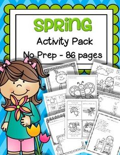 Spring Activity Pack - just print and that's it! No prep hands-on printable activities for preschool, pre-K and early Kindergarten children. Songs, numbers, letters, shapes, posters, cards, more... All in b/w, 86 pages.