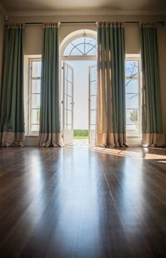 french doors high window curtains