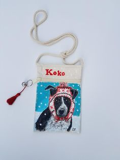 Custom Dog portrait on a mini cross body canvas bag