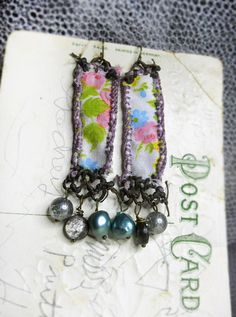 14 DOLLAR SALE Rustic Beaded Earrings Long Floral Fabric