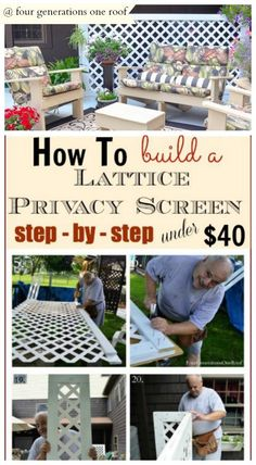 How to build a lattice privacy screen on a budget with my dad DIY Tutorial: Our summer patio was almost perfect except we had two large AC units that were a huge eye sore. My dad and I built a lattice privacy screen to hide them! Easy & inexpensive way to Outdoor Projects, Garden Projects, Diy Projects, Outdoor Crafts, Garden Ideas, Outdoor Patio Ideas On A Budget Diy, Garden Diy On A Budget, Backyard Projects, Privacy Screen Outdoor