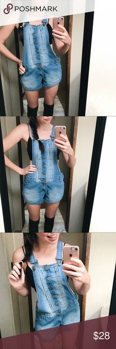 •• denim short overalls 🌻• No flaws. Buttons at waist. Buttons down front. Pleats on either side of front buttons. Metal suspender clasps. Size 7/8. I'm a size 1 or 3, so it can definitely fit smaller than 7 / 8.  75% cotton 23% polyester 2% spandex  ❩❨ offers welcome ❩❨ bundle for private discount ❩❨ typically ships next business day ❩❨ thank you for clearing space in my RV! Rue21 Shorts Jean Shorts