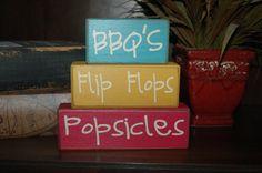 BBQ's Flip Flops POPSICLES Summer Summertime Primitive Block Sign