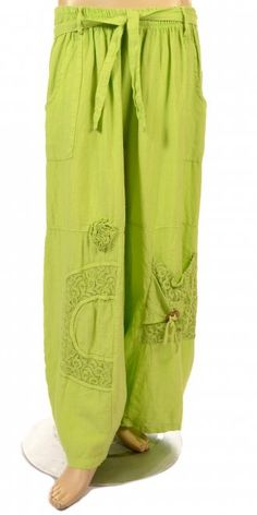 Sarah Santos Lime Linen Balloon Trouser With Lace Detail - Summer 2013