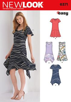 easy drop waist trapeze dresses for miss include short sleeve or sleeveless dress with scoop neck, and flutter sleeve or sleeveless dress with uneven hem and deep scoop neckline.