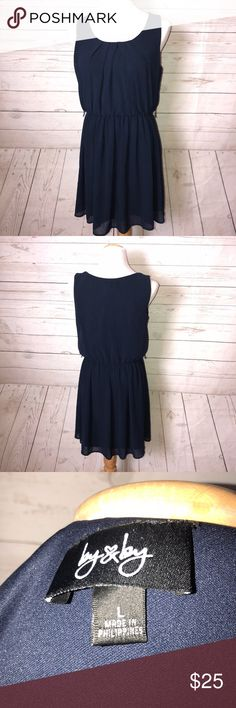 """By&By Sleeveless Dress By & By Navy Blue Sleeveless Dress in Size Large  Pre owned good condition  A line Dress  100 % Polyester Shoulder-13"""" Bust- 19"""" Length-33 1/2"""" BY&BY Dresses"""