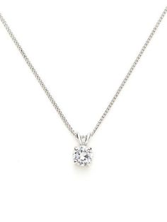 The simple round diamond necklace: Round CZ Mini Pendant Necklace by CZ by…