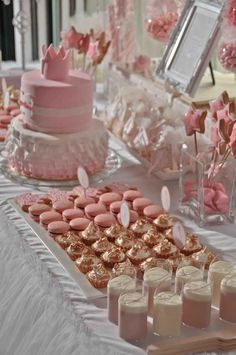 Pink and gold candy and cake table for a little girl birthday party. Xiao by Crustz (http://www.xiaobycrustz.com)
