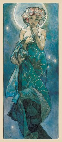 I like the colours and the textures background. I also like the pose of the girl in this poster. Luna by Mucha