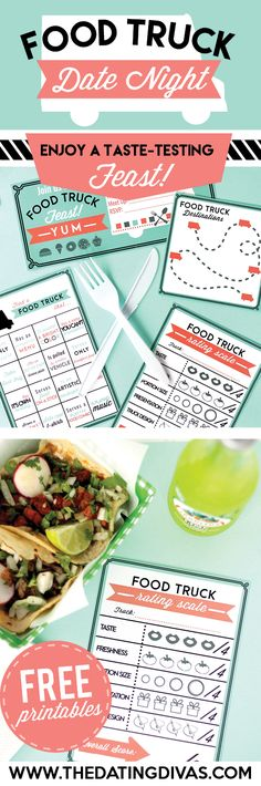 A food truck date night! FUN! Perfect summer group date with other couples. Printables designed by www.cassialeighdesigns.com www.TheDatingDivas.com