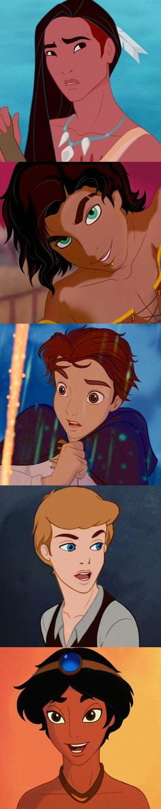 What Disney Princesses Would Look Like as Men Pochahontas is ugly but the other boys are pretty cute.