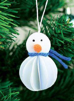Paper Snowman DIY Ornaments | What a great paper craft idea!