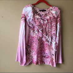 French Bazaar Top. Long sleeve pink colors in this gorgeous pullover. Excellent condition French Bazaar Tops Tees - Long Sleeve