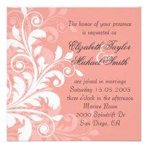 Luxury Coral Floral Swirls Wedding Invite