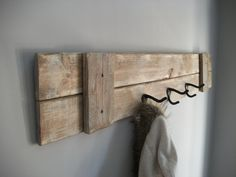 Modern Wall Mounted Coat Rack Ideas To Impress You : Rustic Wall Mounted Coat Hook Design With Reclaimed Wood Pallet Along With 3 Pieces Iron Hooks Along With Gray Wall Paint Color