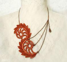 lace necklace ZARA burnt orange by tinaevarenee on Etsy, $42.00