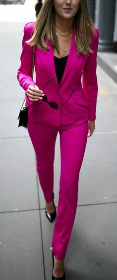 Top Trends to Know // Trend #4: PINK // click the image for all the details! // neon vibrant fuchsia pink mugler pant suit, black silk cami, gucci bag, ysl classic pumps