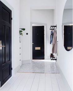 29 Ideas For Hallway Lighting Fixtures Black Doors - Modern Hallway Walls, Entry Hallway, Hallways, Black Hallway, Hallway Ideas, Hallway Light Fixtures, Hallway Lighting, Home Interior, Interior And Exterior