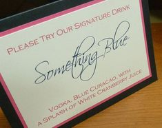Signature Drink Sign, Signature Cocktails, Bride and Groom Drinks