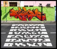 The utilitarianism of zebra crossing designs hasn't not stopped people from creative experimentation in the form of quite literal pedestrian street art. Street Graffiti, Street Art, Pedestrian Crossing, Urban Intervention, Zebra Crossing, Street Portrait, Park Art, Street Dance, New York Street