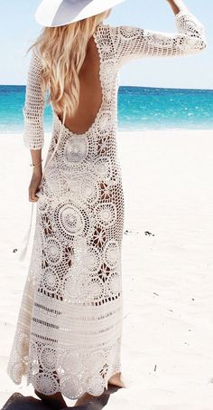 White Backless Beach Cover Up #lace