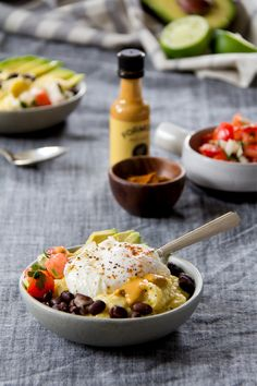 Huevos rancheros bowls with polenta and homemade pico de gallo