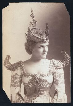 """1891 Fancy Costume for the production of """"Wang"""" on actress Della Fox - from the NYPL digital collection at http://digitalgallery.nypl.org/nypldigital/dgkeysearchresult.cfm?keyword=%22della+fox%22"""
