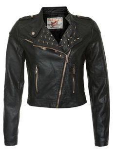 Parisian Black Stud Collar PU Biker Jacket £45