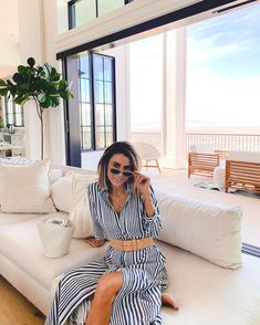 #repost ••• From loungewear to dresses, sunnies are always my go to. @sunglasshut @michaelkors #HouseOfSun #MySpringLook 🔍 MK2087U Stowe Dope Fashion, Striped Pants, Sunnies, Lounge Wear, Sunglasses Women, Michael Kors, Stylish, Collection, Dresses