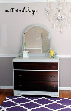 Hand Painted Vintage Waterfall Dresser and Mirror ~ Upcycle