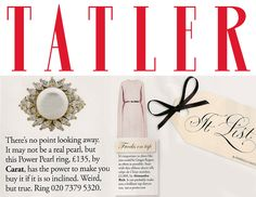 Our Power Pearl collection featured in the 'It List' section of this  month TATLER.