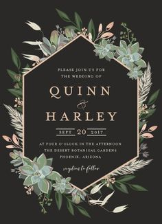 wedding invitations - Succulent Surround by Susan Moyal