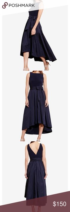 Lauren Ralph Lauren High-Low Fit& Flare Dress sz12 Lauren Ralph Lauren High-Low Fit & Flare Dress size 12 in Navy.  Worn once at my sister's wedding and dry cleaned.  In excellent condition with no flaws.  No trades as only wanting to sell. Lauren Ralph Lauren Dresses High Low