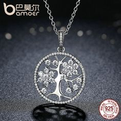 BAMOER Classic 925 Sterling Silver Tree of Life Pendant Necklaces for Women Women Fine Jewelry collares PSN013