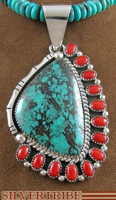 Navajo Indian Silver Native American Jewelry Coral and Turquoise Bead