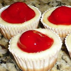 Mini Cheesecakes I Allrecipes.com Mini waffers  2 lg cr cheese 3/4 C sugar 2 eggs  1 tsp vanilla  bake 15min @ 350