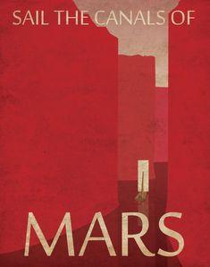 Mars Retro Planetary Travel Poster