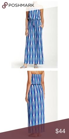 "Printed Strapless Maxi Printed Strapless Maxi Dress - Strapless bandeau neck - Banded drawstring waist - Allover print - Approx. 57"" length - Color: ISLA AZURE Fiber Content: 95% rayon, 5% spandex. Dresses Maxi"