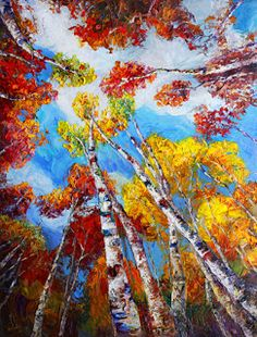 """Artists Of Texas Contemporary Paintings and Art - """"Reclining Thoughts"""" Palette Knife Aspen Tree painting by Niki Gulley"""