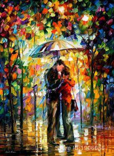 Leonid Afremov de pinturas al óleo del cuchillo para comedor, beso en el parque, pintado a mano en lino, envío gratis(China (Mainland))