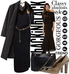 """BLack in Black mood for the day"" by sherifah-alghanim ❤ liked on Polyvore"